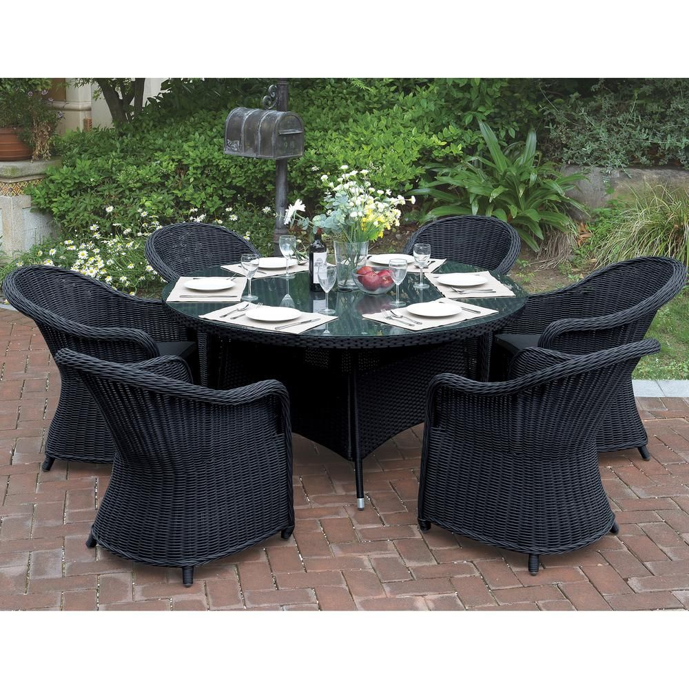 Venetian Worldwide Neirone 7 Piece All Weather Wicker Circular Outdoor Dining Set With Dark Brown Cushion Vp 228 7pcs The Home Depot Outdoor Dining Set Patio Set 7 Piece Dining Set