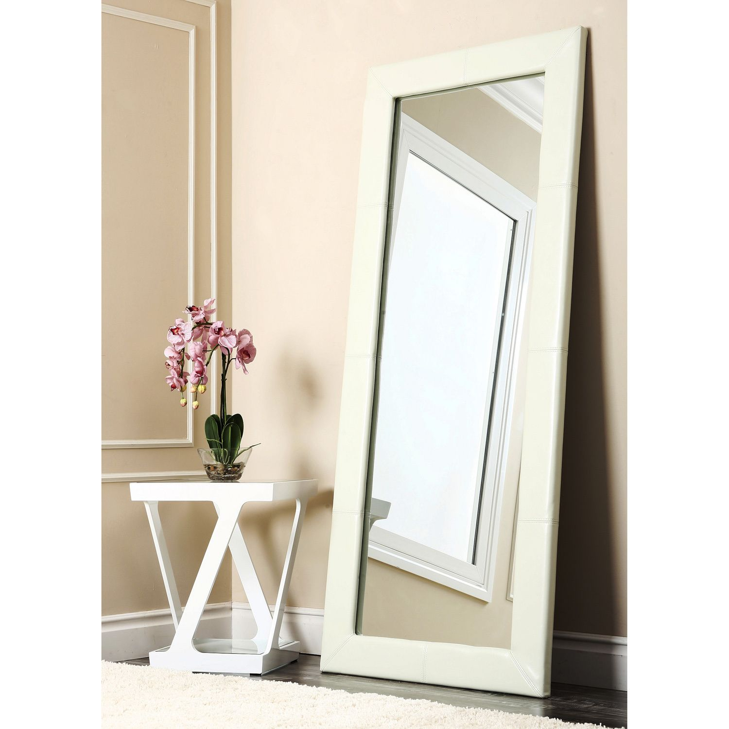 abbyson delano ivory leather floor mirror by abbyson  - a chic addition to any home or office this ivory leather floor mirrormeasures