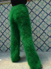 New hand knitted mohair pants Jade Green Fuzzy leg warmers by LanaKnittings