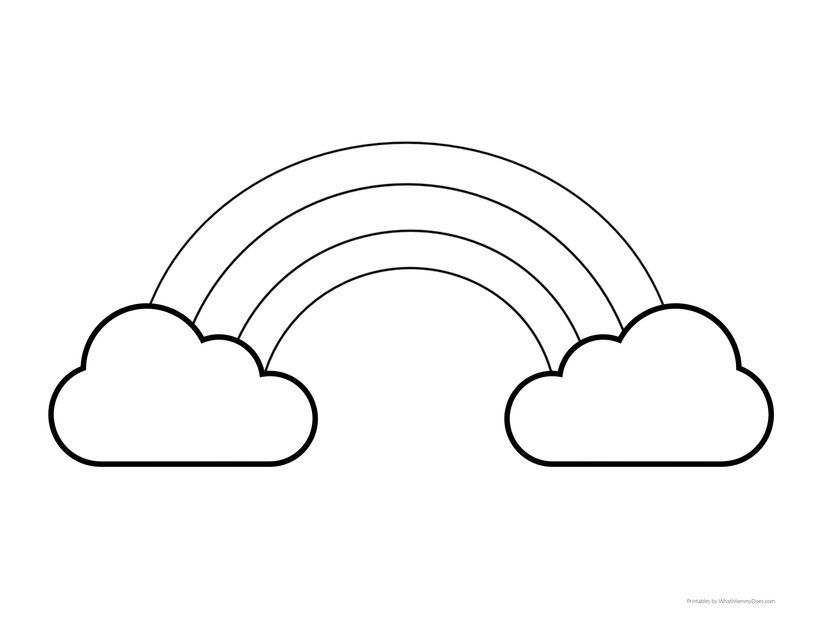 Simple Large Rainbow Template With Clouds Perfect For Little Kids Cloud Template Free Printable Coloring Pages Rainbow