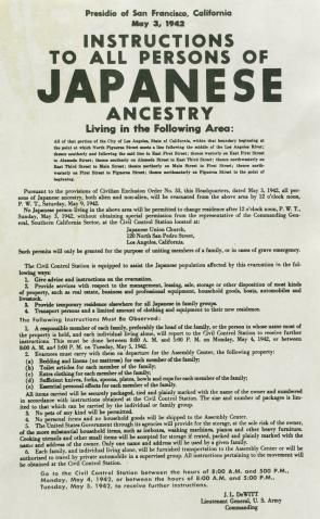 notice of relocation for persons of ese ancestry  an article by a well respected historian on ese internment contains links to multimedia presentations and primary sources