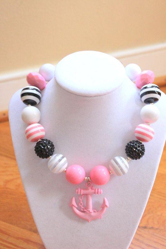 anchor chunky bubblegum bead necklace girls by LightningBugsLane, $16.00