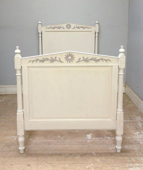 Sweet antique French bed / Directoire style / Circa 1900 / painted furniture / low lights detailing / Frenchfinds.co.uk