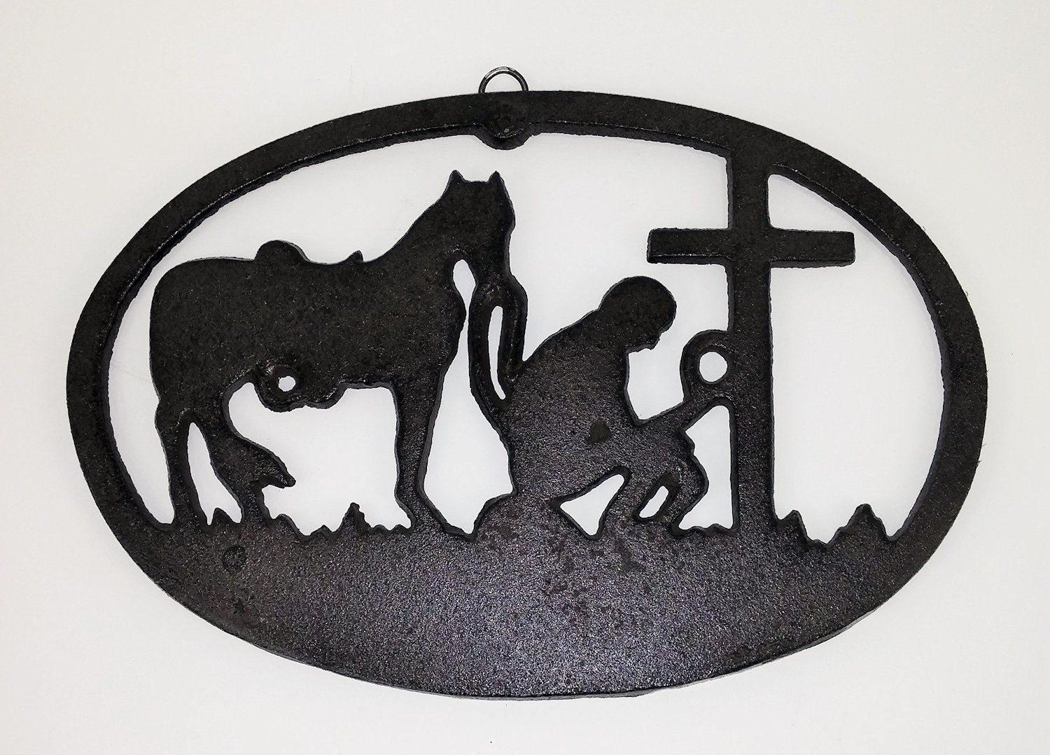 Abc productsu heavy cast iron oval plaque kneeling cowboy and
