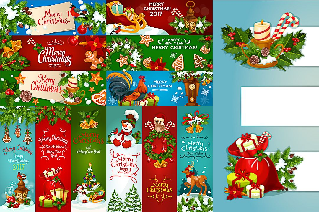 Banners Merry Christmas And Happy New Year Vector Free Vector Art Happy New Year Vector Merry Christmas And Happy New Year Happy New Year Banner