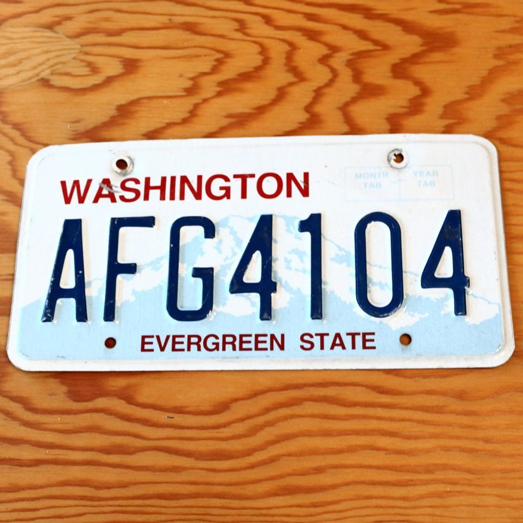Washington Evergreen State License Plate AFG4104 State