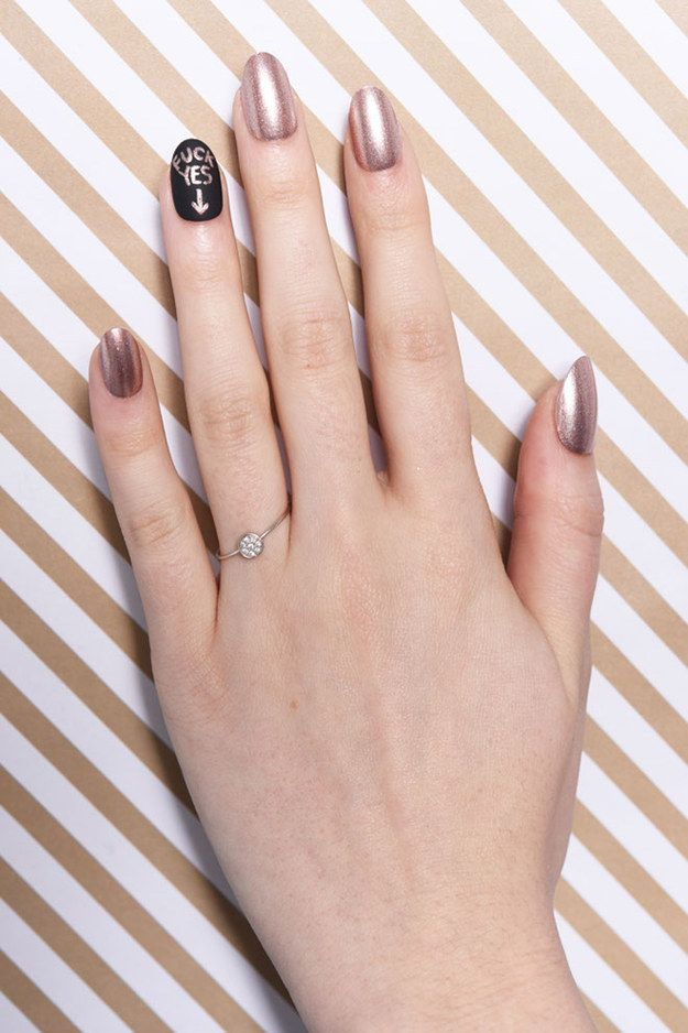 This is possibly the best way to do your nails when you get step 6 optional use your badass nail art to announce your engagement via prinsesfo Images