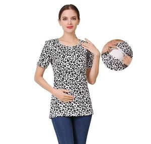 fb223e9533121 Short Sleeve Leopard Maternity Nursing Clothes Breastfeeding T-Shirt  Pregnancy Tops for pregnant women Summer Tee Regular price $42.00 #pregnant  ...