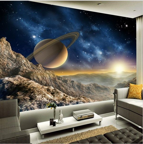 3d Saturn Wallpaper Galaxy Universe Wall Mural