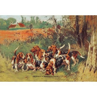 "Buyenlarge Artesien Normand Bassets by Baron Karl Reille Painting Print Size: 66"" H x 44"" W x 1.5"" D"