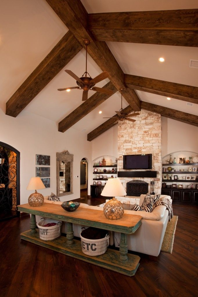 Love the stained beams the floor to