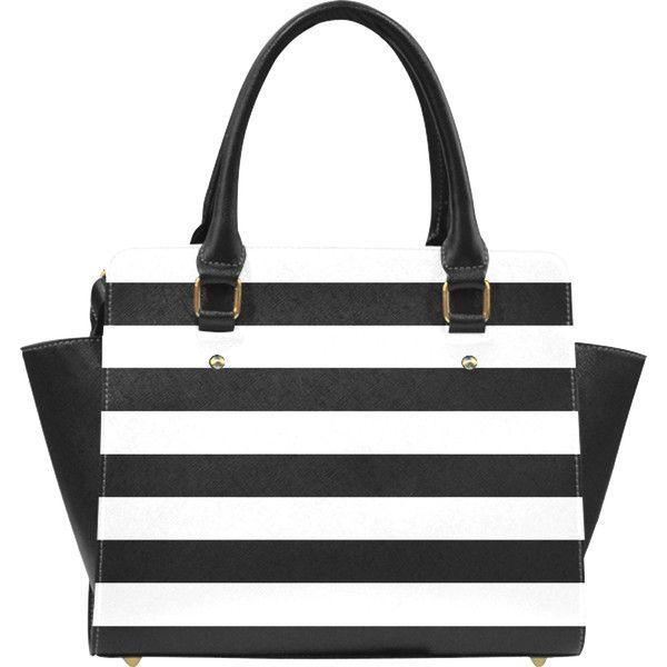 Black and White Horizontal Stripes Classic Shoulder Handbag (Model ...