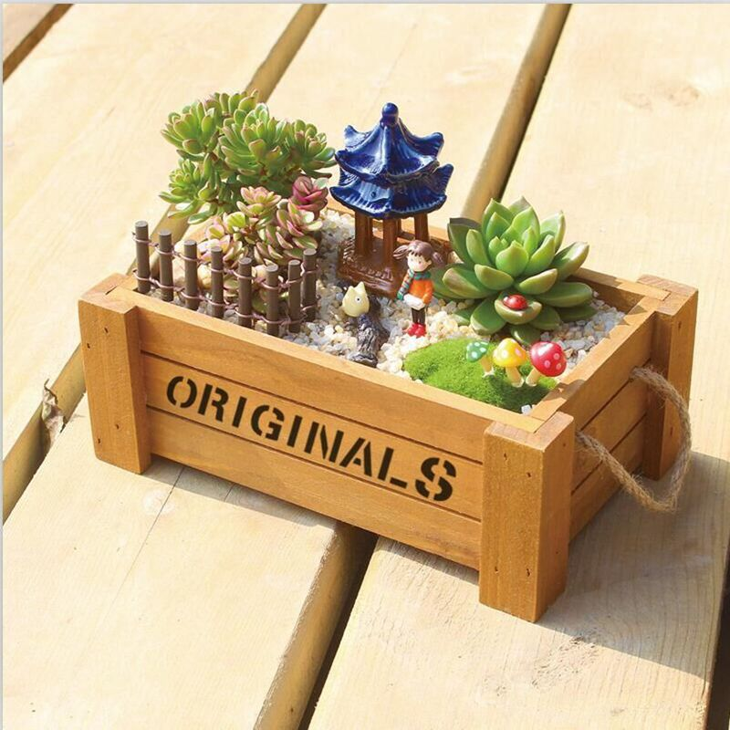 1pc Zakka Vintage Portable Wooden Garden Planter Flower Pots Succulent Plants Flowerpot Desktop Storage Box Free Shipping