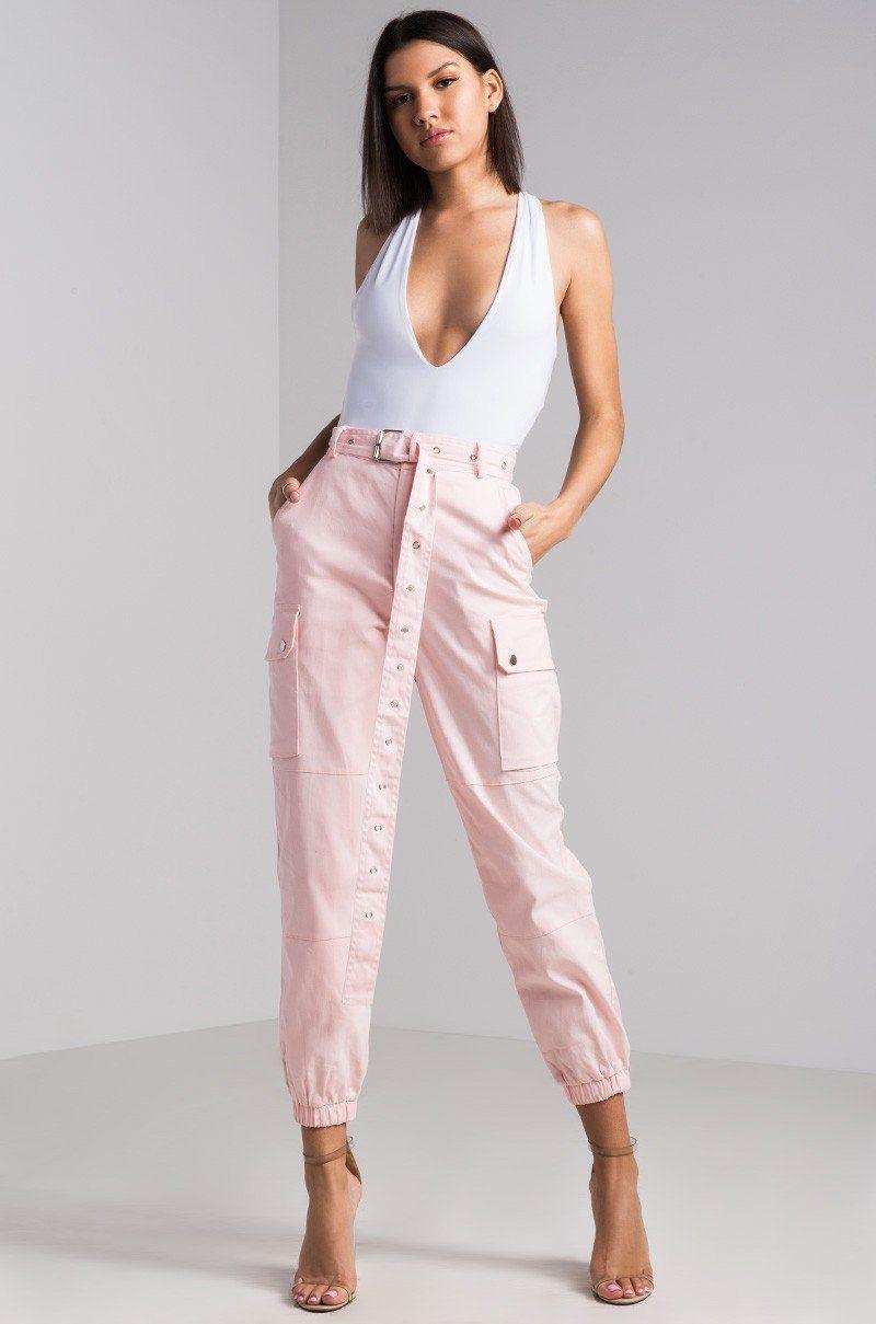 e5315b54c0f High Waisted Eyelet Belted Cargo Pants