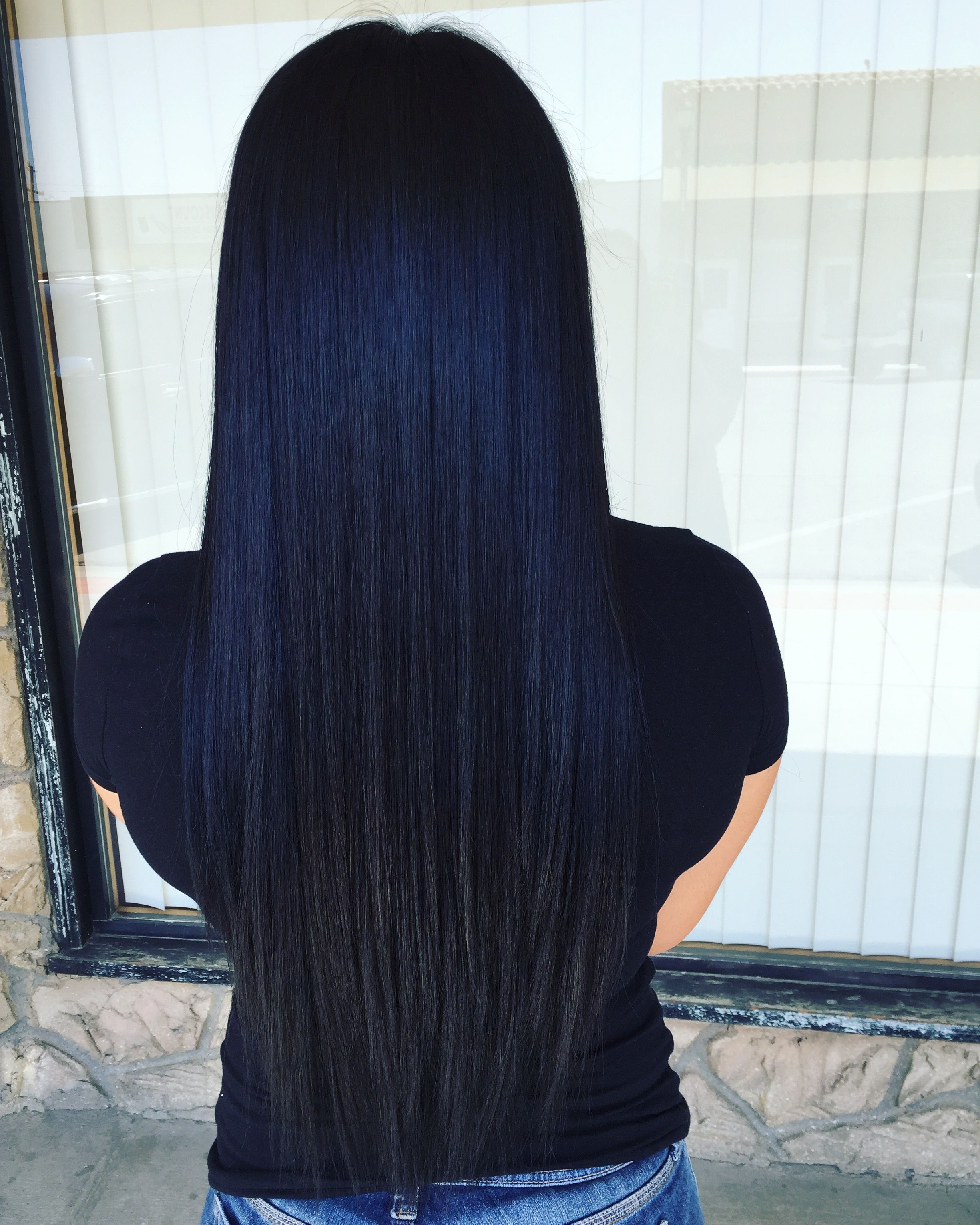 prefect black blue more | hairstyles | dark blue hair, long