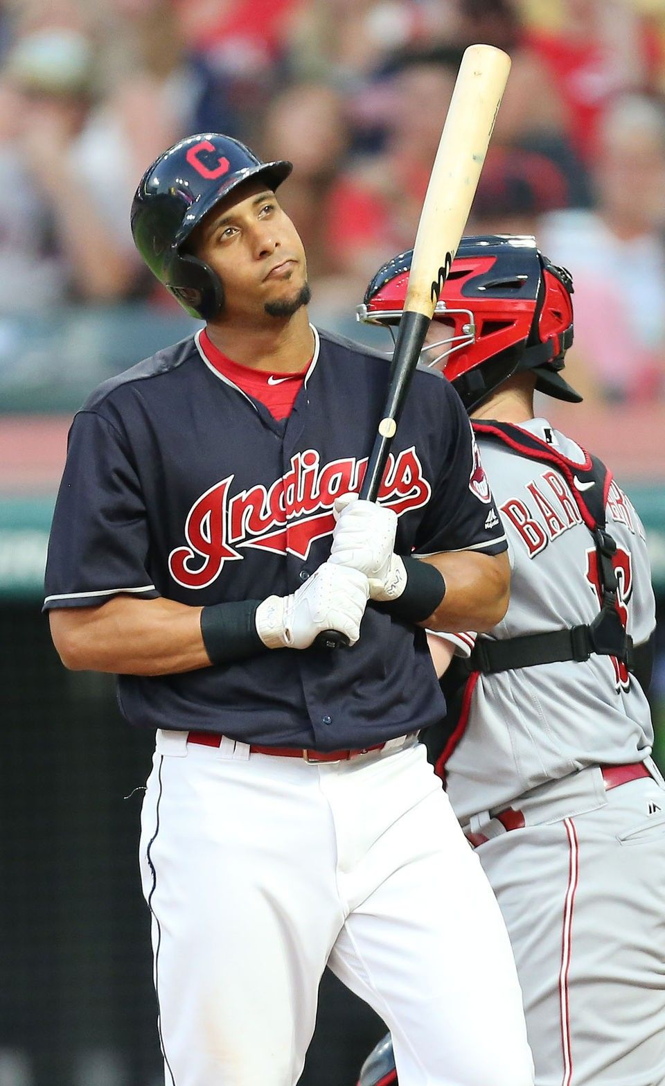 Cleveland Indians Michael Brantley Reacts To A Strike Out In The Sixth Inning Off Cincinnati Cleveland Indians Baseball Cleveland Indians Youth Baseball Gloves
