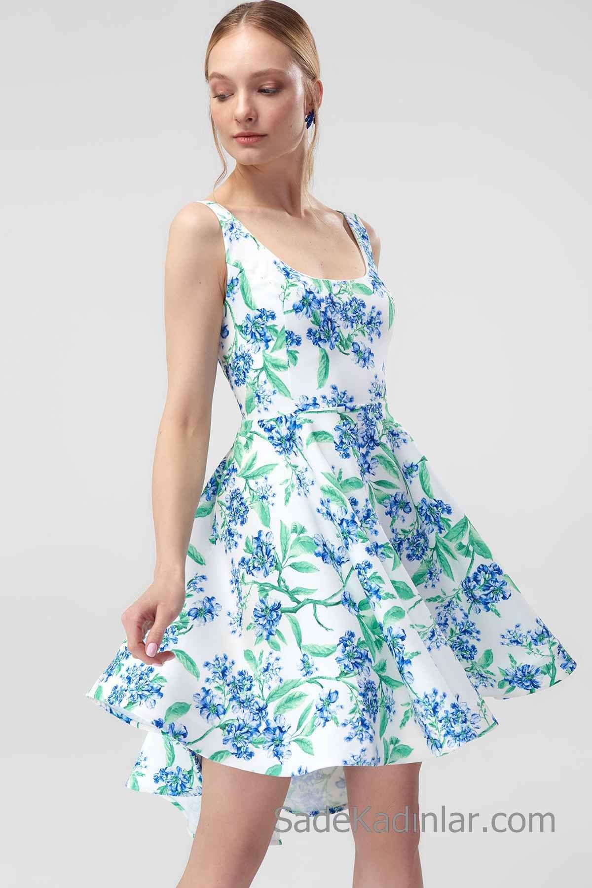 2020 Gunluk Elbise Modelleri Beyaz Kisa Askili Genis Yaka Klos Etek Cicek Desenli Elbise Modelleri The Dress Elbise