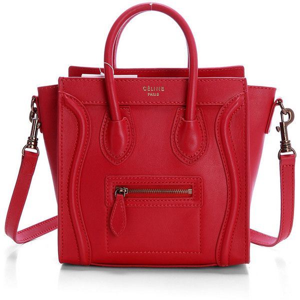 Celine Nano Luggage Red Tote Shoulder Bag ❤ liked on Polyvore featuring bags, handbags, tote bags, totes, сумки, celine handbags, red tote, mini purse, miniature purse and celine purse