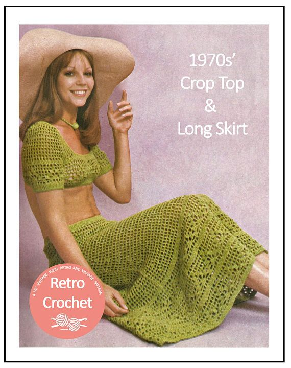 a3af006c7a 1970s Sun Top and Skirt Vintage Crochet Pattern - PDF Instant ...
