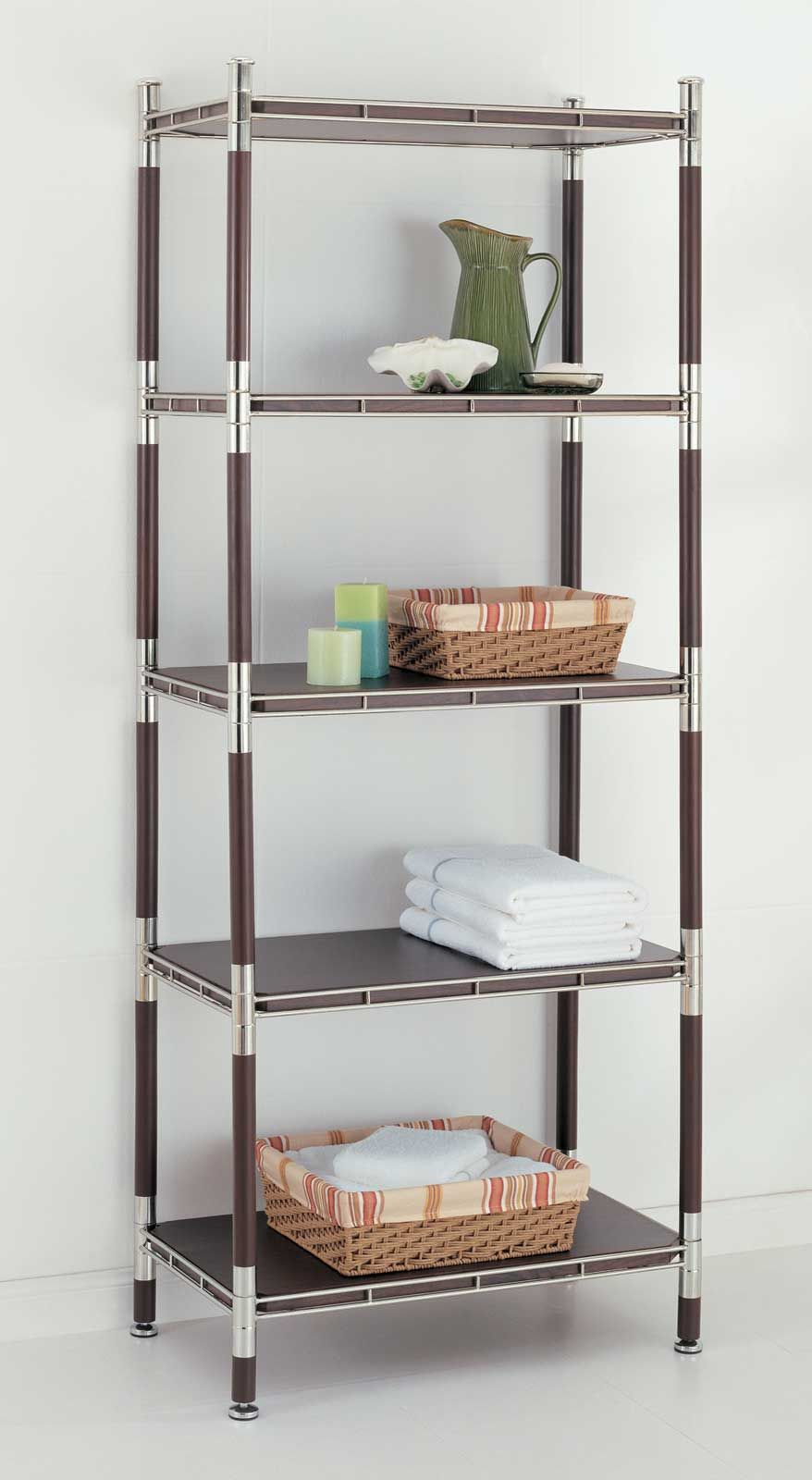 The 5 Tier Wood And Chrome Shelving Unit Is A Modern Shelf For The Bathroom Or Office Find Contemporary She Shelves Wood Shelving Units Bathroom Shelving Unit