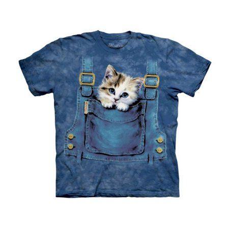 Kitten In Overalls Pocket Big Boys T-Shirt Tee