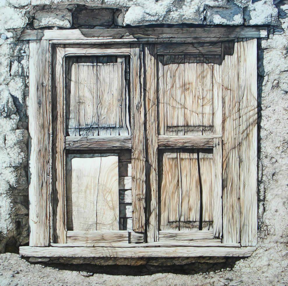 Ventana antigua pintada al oleo puertas y ventanas en for Fotos de puertas de madera antiguas