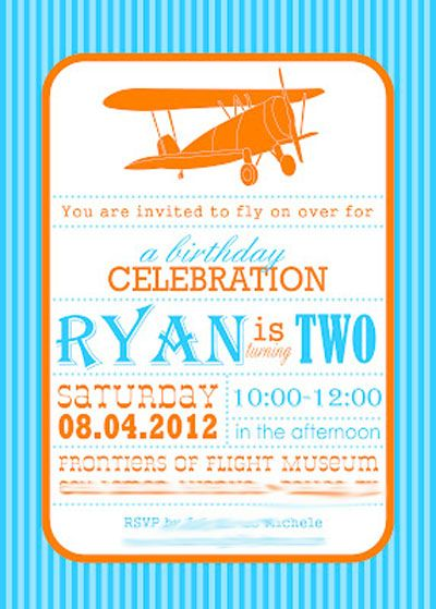 Orange blue chevron airplane themed second birthday party invitation orange blue chevron airplane themed second birthday party invitationg 400559 filmwisefo