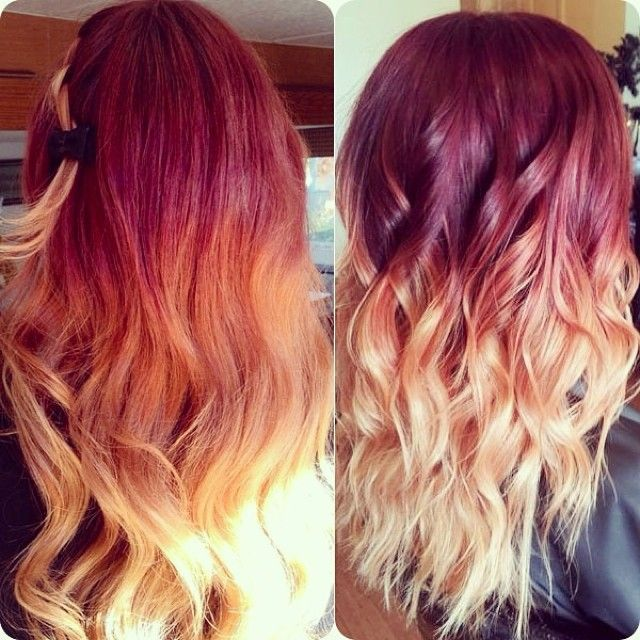 Red To Blonde Mermaid Dip Dye Ombre Indian Remy Clip In Hair