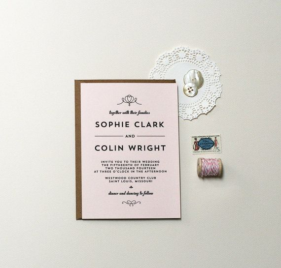 Wedding Invitations Modern Art Deco by CraftyPiePress on Etsy, $3.00