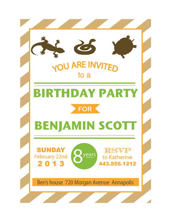 PRINTABLE Reptile Birthday Party Invitation On Etsy 1400