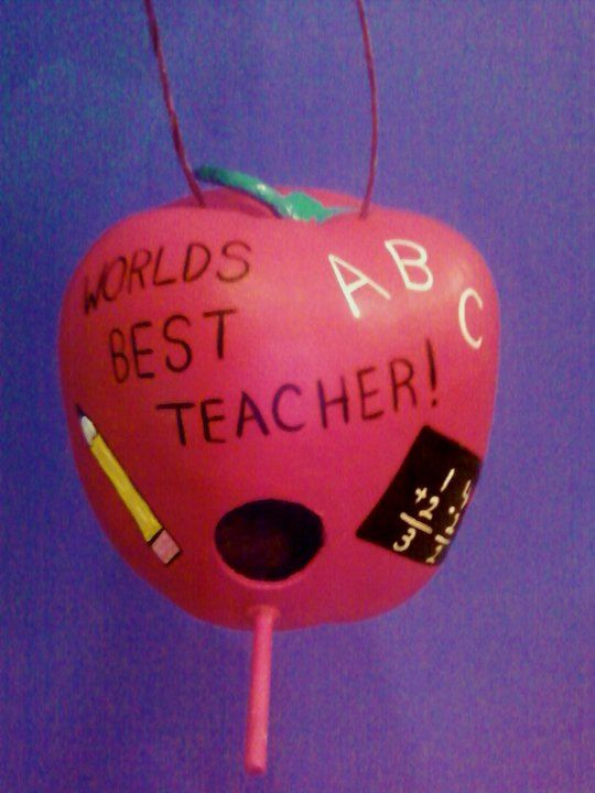 Worlds Best Teacher Gourd Bird HOuse by KASSAYSKREATIONS on Etsy, $30.00