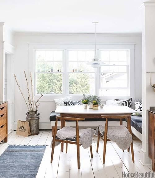 Bright Dining Room With Bentwood Chairs