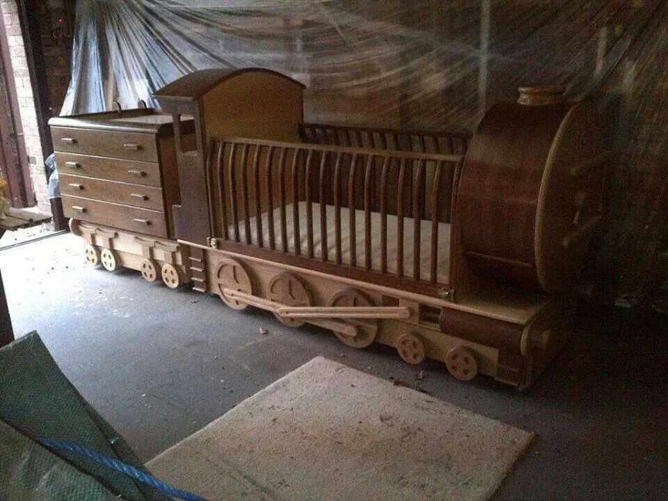 Handmade Wooden Train Crib And Dresser Too Beautiful