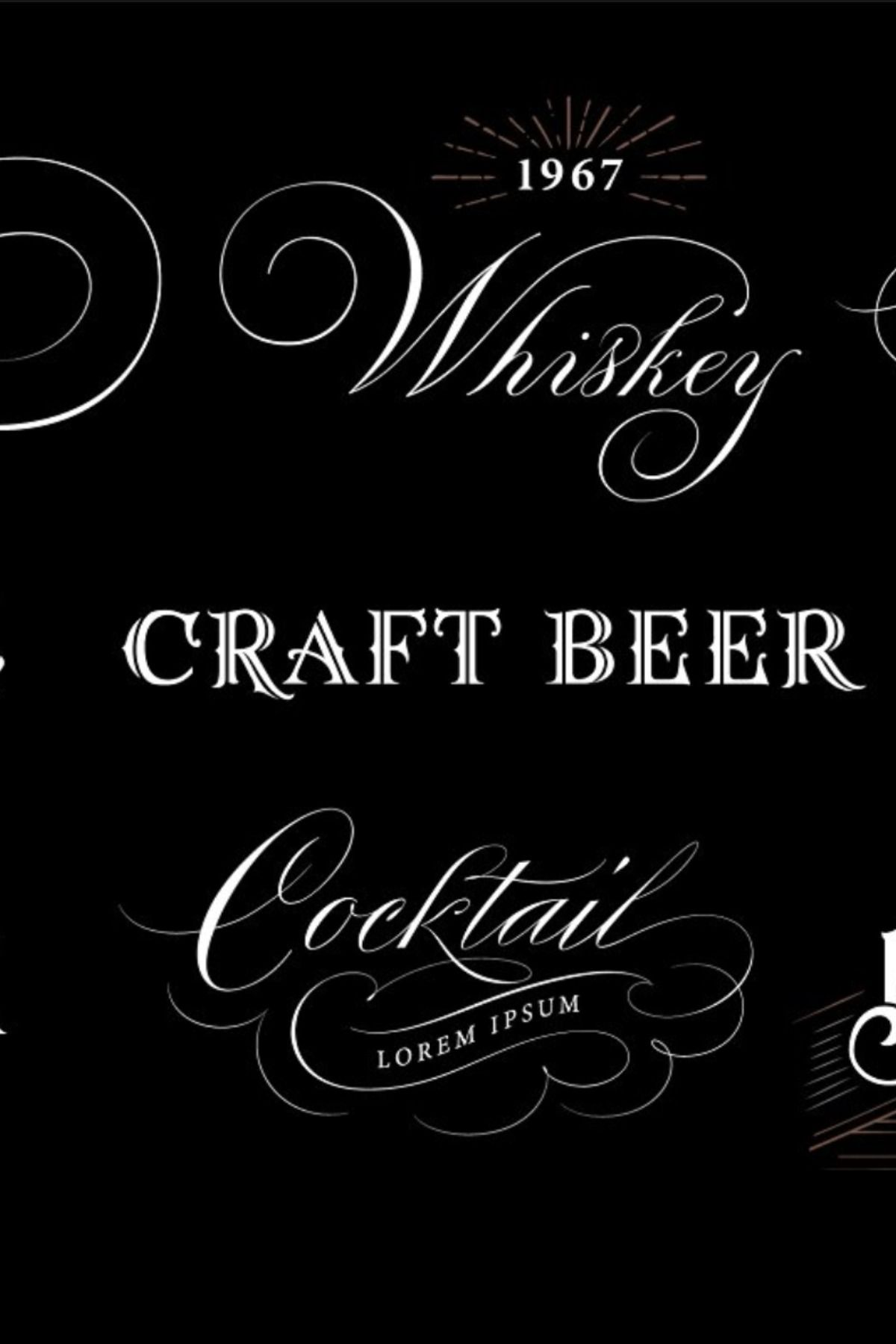Alcohol Hand Lettered Logos