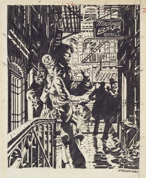 Jim Steranko, original art for Red Tide. He said on twitter he did the whole book's art in pencil, I didn't really believe it until seeing this