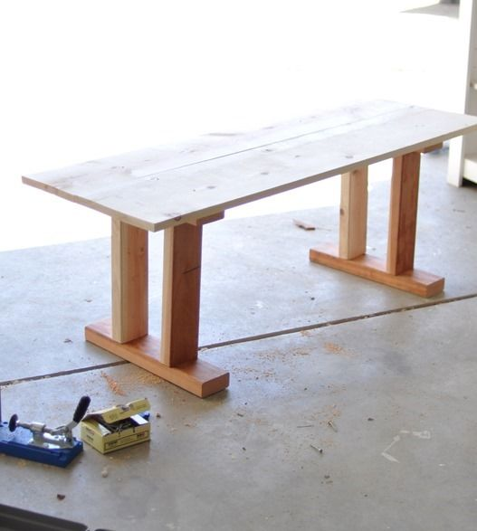 table after construction - bedroom bench