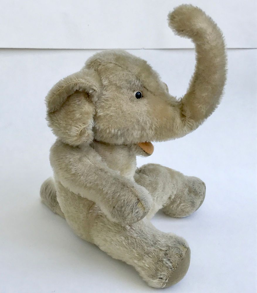 Steiff Jumbo Elephant Mohair Plush 22cm 9in Jointed 1960s No Id