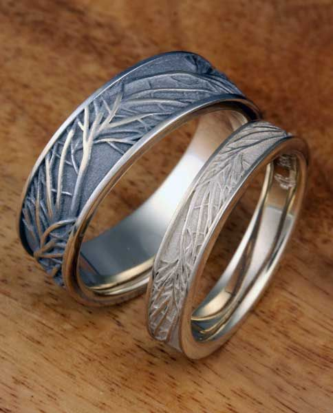 Tree Of Life Wedding Band Set In Natural White Gold Wedding Ring Trio Sets Heart Shaped Wedding Rings Wedding Rings Unique