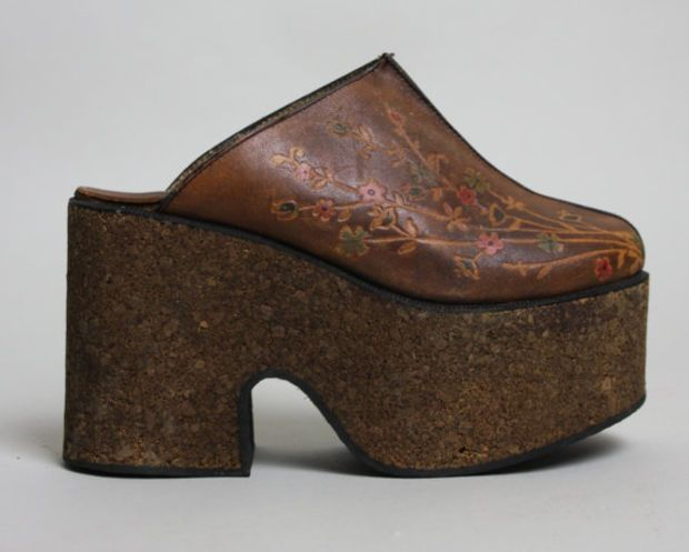 a43a24846b466 70s CORK & LEATHER Platform Shoes | Vintage 1970s BOHO Floral Mules ...