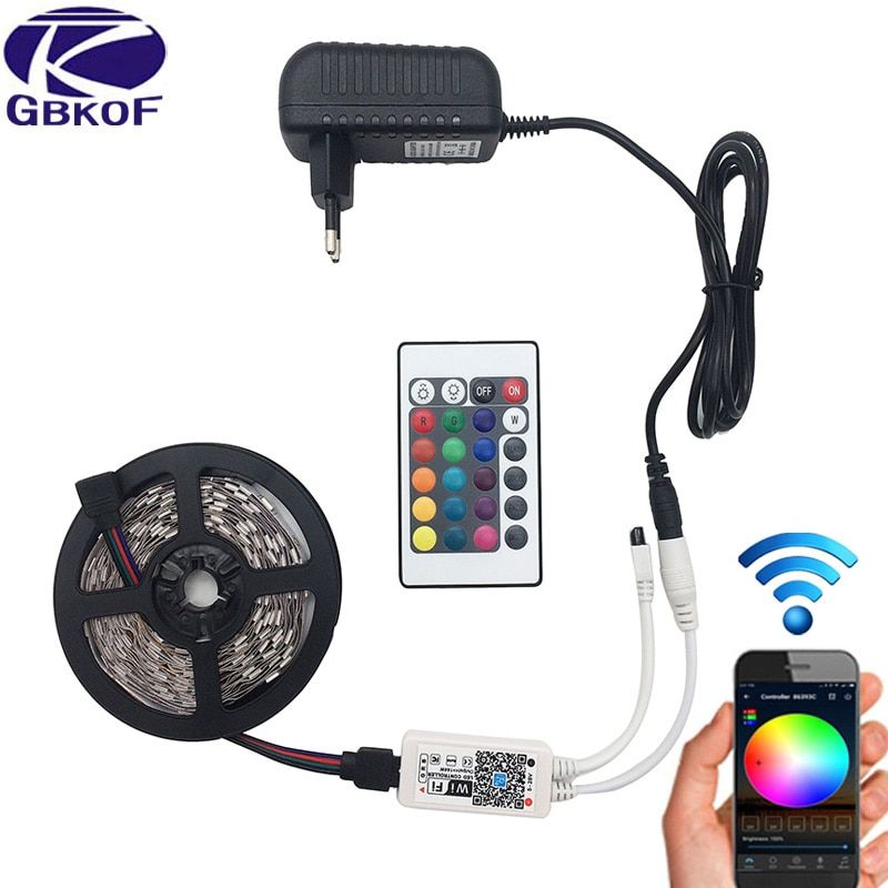 Fairy Lights 10M 5050 RGB LED Strip light tape lamp 44key Remote Controller 12V Power Adapter Light