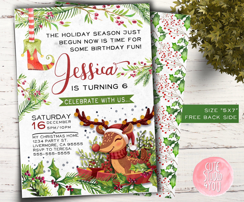 christmas birthday invitation card holiday bday