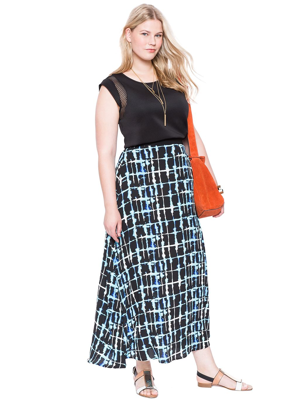 How great is this Plaid Chiffon Maxi Skirt? Available in extended sizes!   Women's Plus Size Skirts   ELOQUII