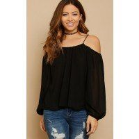 Woven top featuring a ruched elastic scooped neckline and back. Long sleeves with cold shoulder accent. Lined. Woven. Lightweight.100% PolyesterHand Wash ColdImportedModeled in Size Small