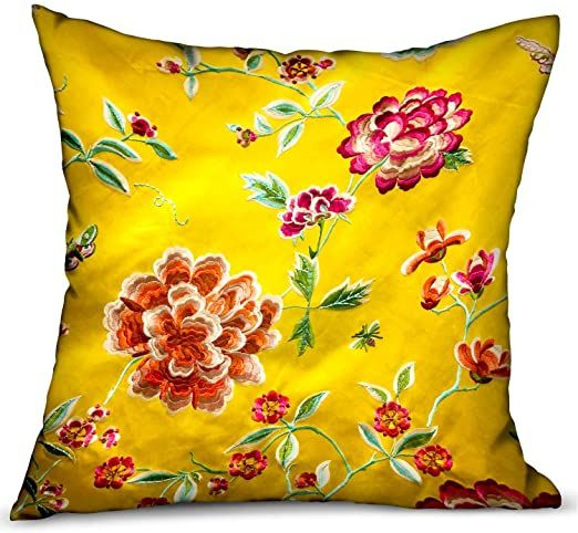 "Plutus Heavenly Peonies Yellow Floral Luxury Throw Pillow Double Sided 18"" ..."