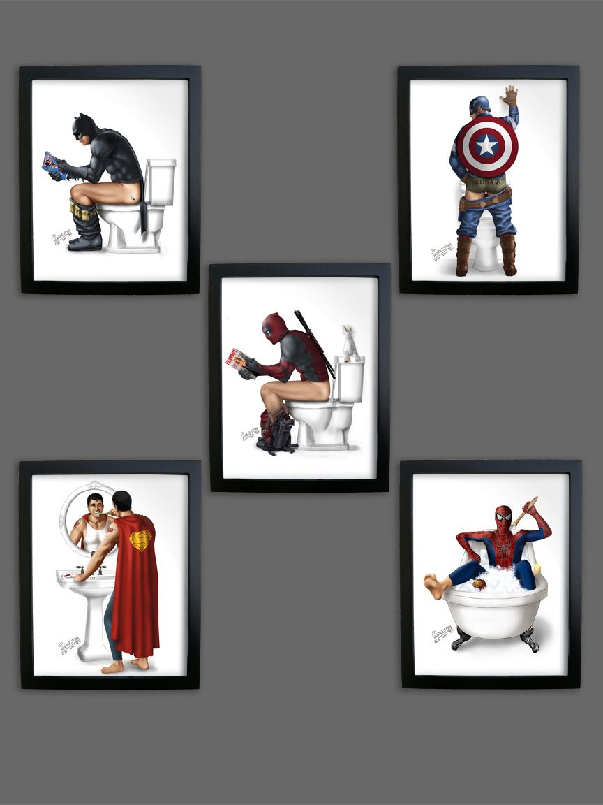 Etonnant Batman Bathroom, Superhero Superman, Spiderman, Bathroom Prints, Wonder  Woman Comic, Toilet, Dc Comics, Bathroom Ideas, Comic Books