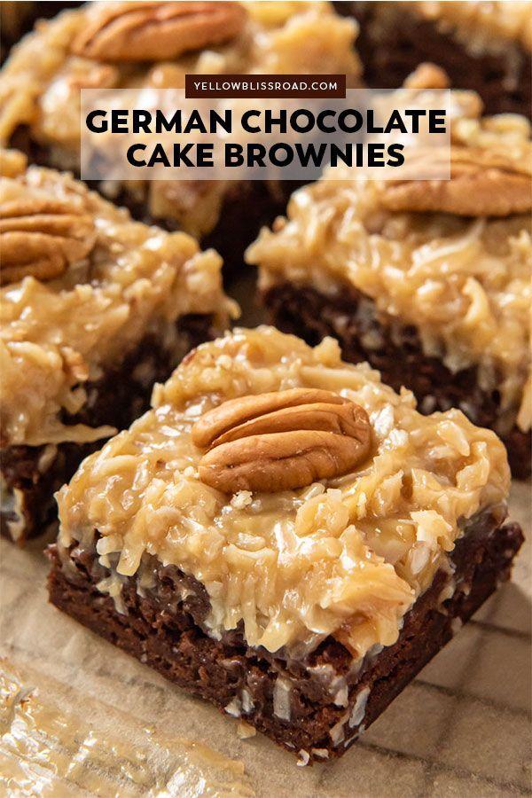 German Chocolate Cake Brownies | YellowBlissRoad.c