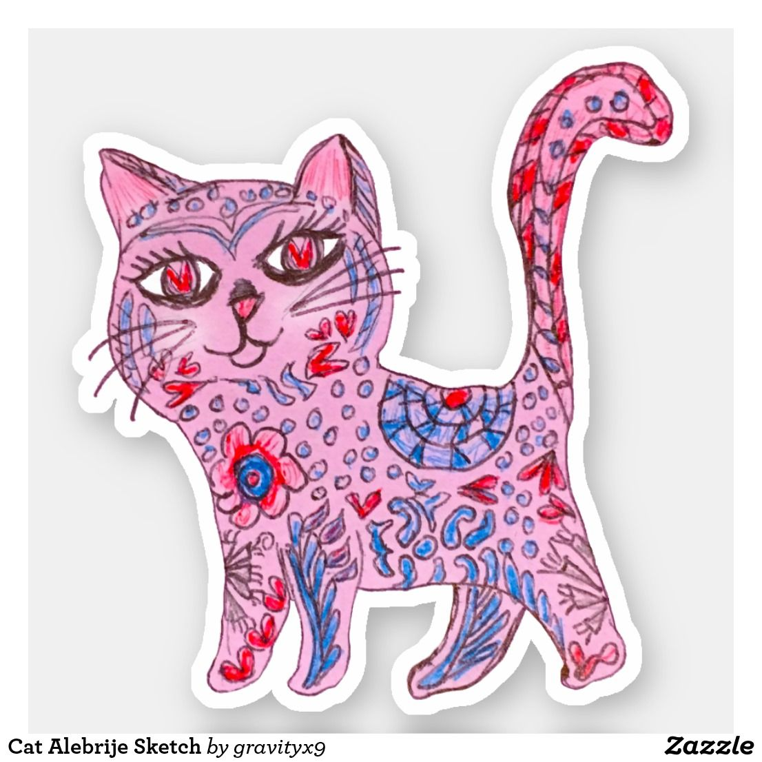 Cat Alebrije Sketch Sticker |  * Cat Alebrije Sketch Sticker  by at * Cutout stickers are available in several size options.* Choose size and use for DIY projects, projects and scrap booking ideas, too! * contour stickers * stickers laptop ideas * cut out stickers * stickers for school * stickers for crafting * stickers for kids *