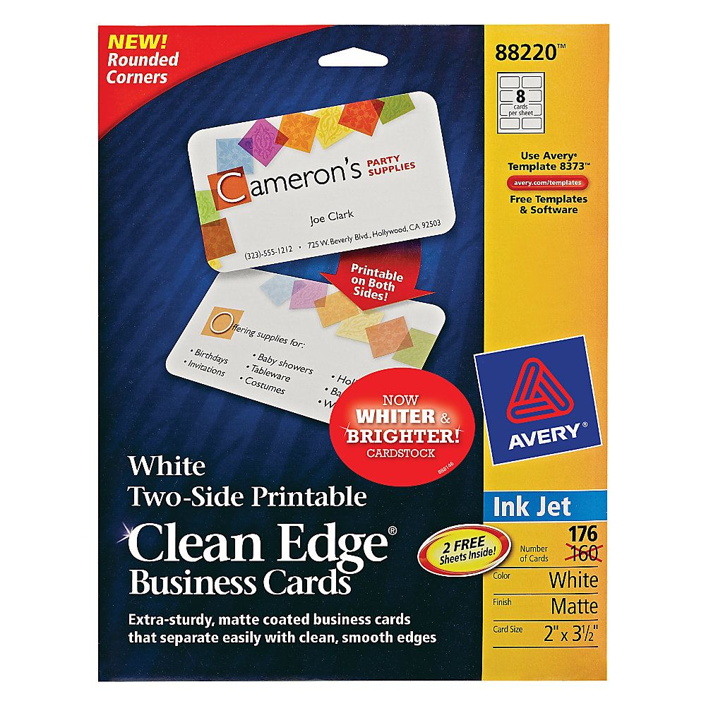 Avery® Inkjet Clean-Edge Business Cards, With Rounded Edge, 2\