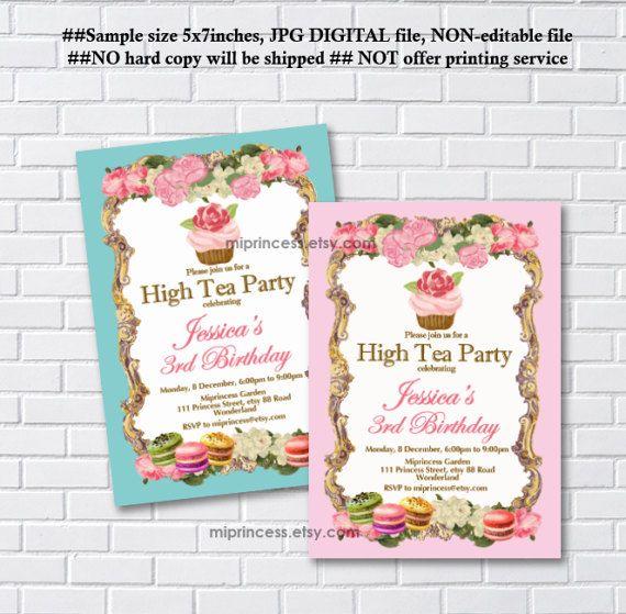 Cupcake Tea Invitation Girl Birthday Tea Party Vintage