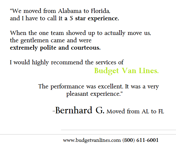 Budget Van Lines Shares With You A Piece Of A Customer Voice Review To Listen To The Whole Review Click To Be Directed To The Revie Van Lines Budgeting Moving